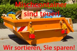 Mischcontainer in Köln sind teuer, durch sperrige Güter sit der Container schnell voll